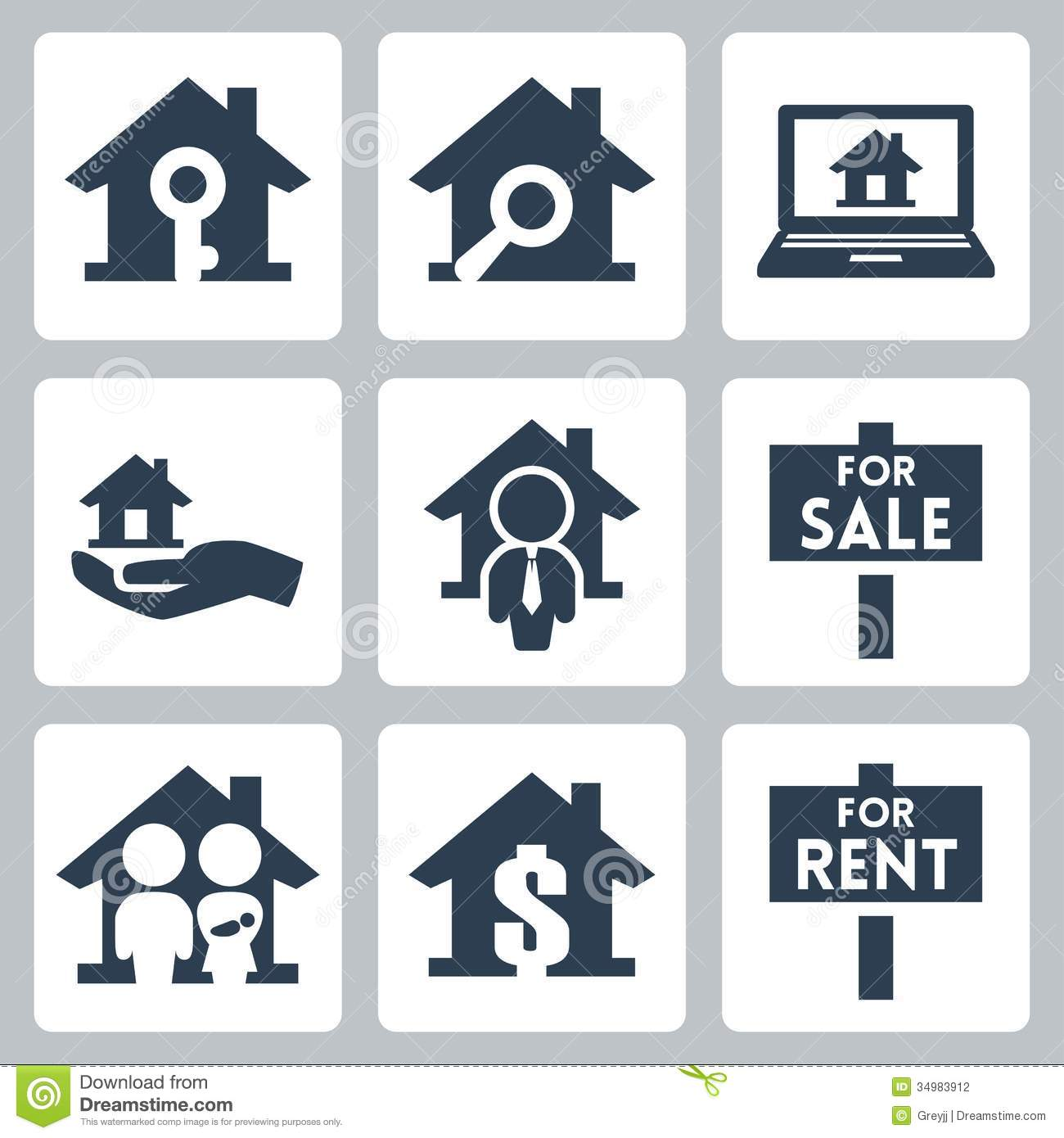 Vector Real Estate Icons Set Stock Photography - Image: 34983912