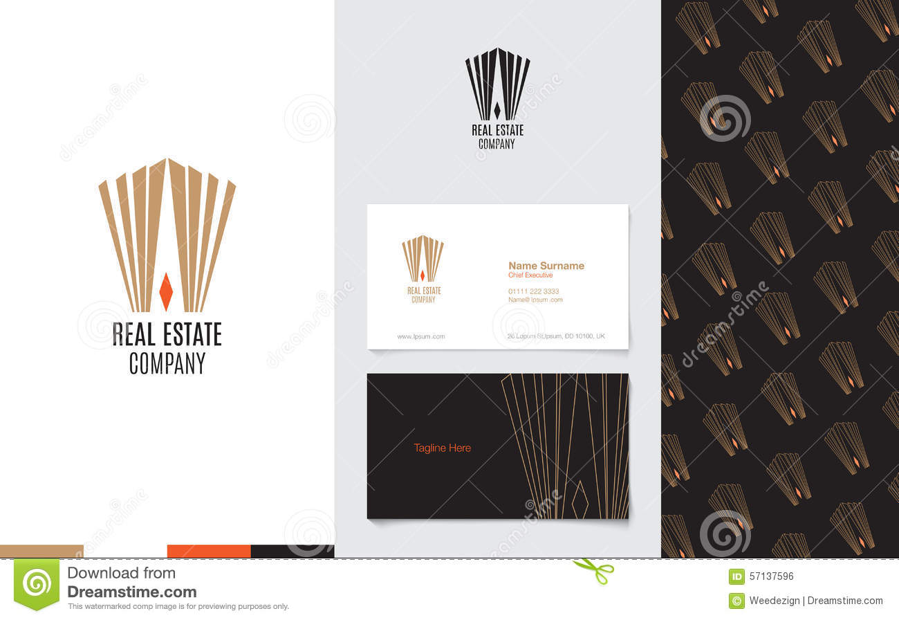 Vector : Real Estate Logo With Business Name Card And Corporate ...
