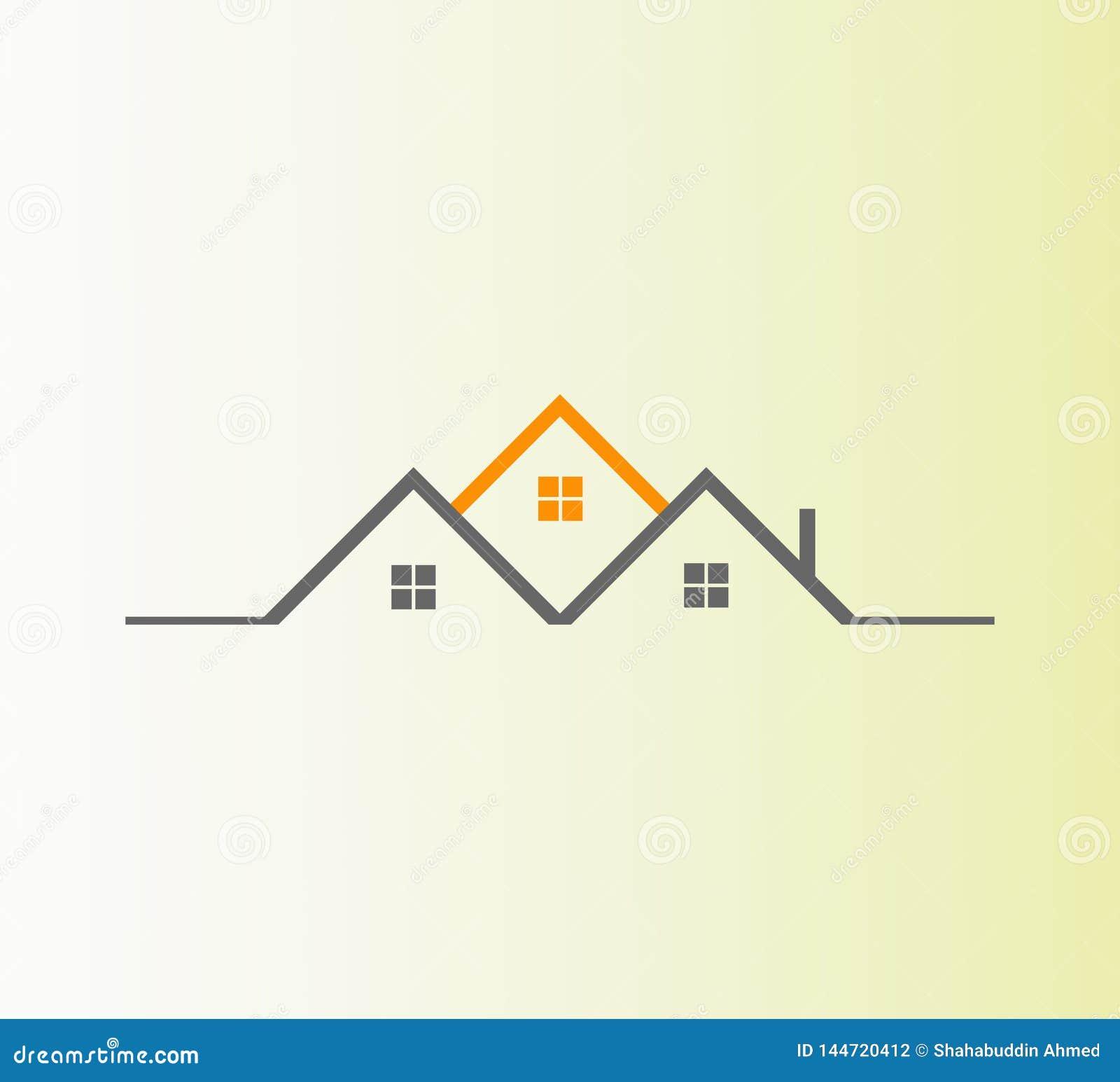 Vector Real Estate Logo Design El mejor logotipo abstracto del icono de las propiedades inmobiliarias