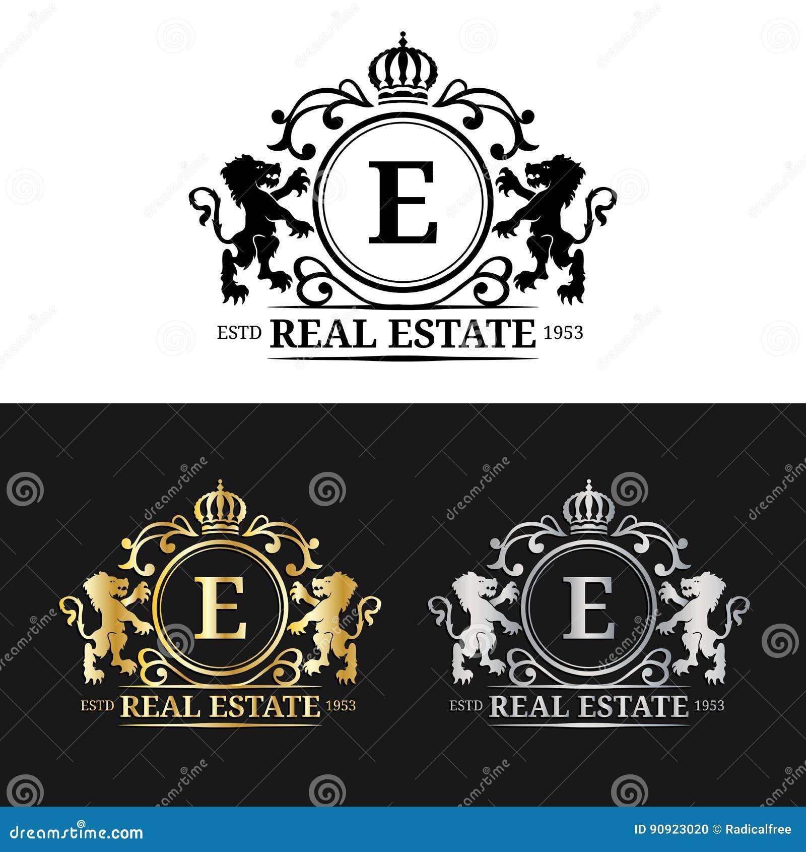 Vector real estate monogram logo templates luxury letters for Monogram homes floor plans