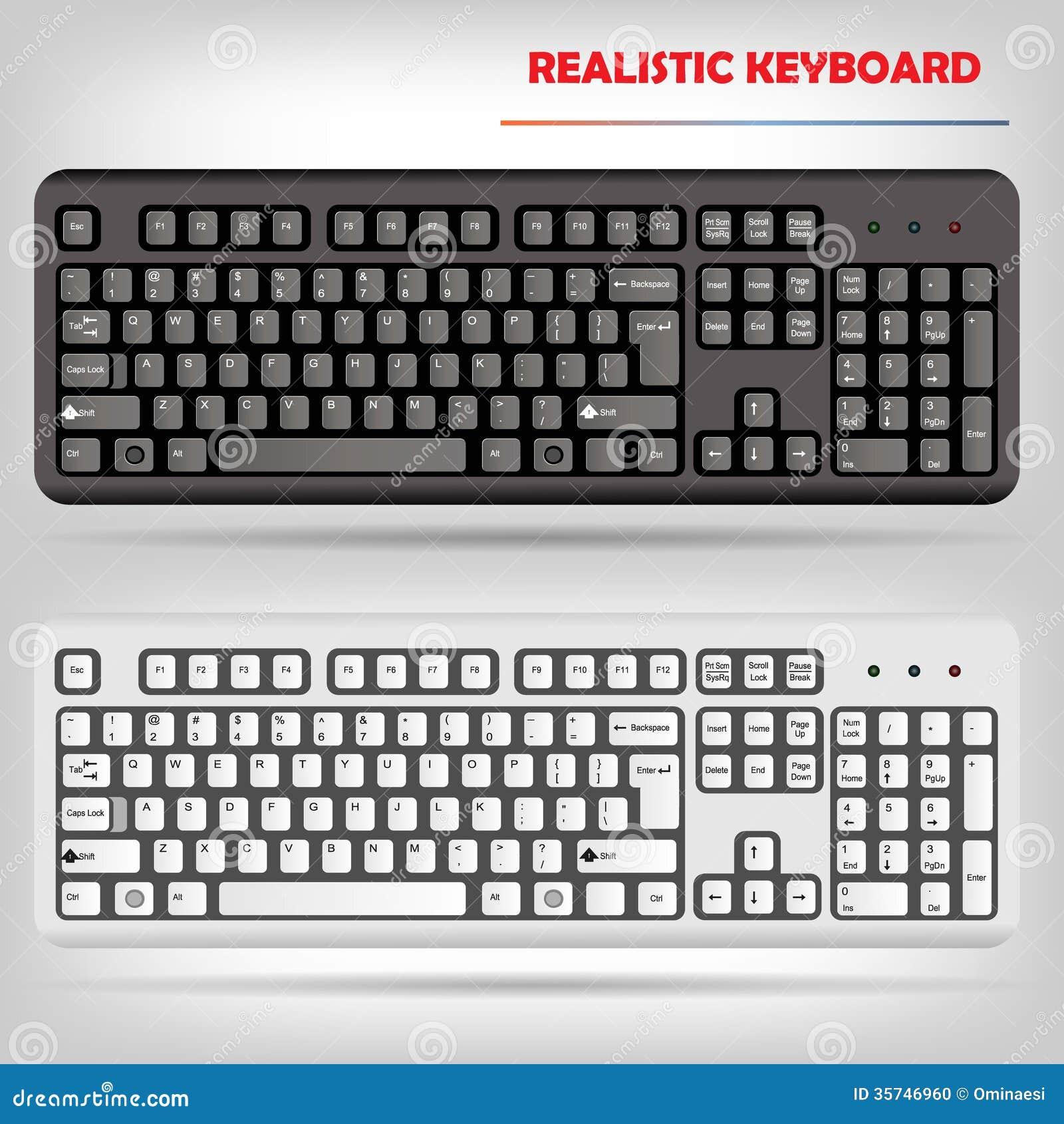 Vector realista del teclado de ordenador foto de archivo - Foto teclado ordenador ...