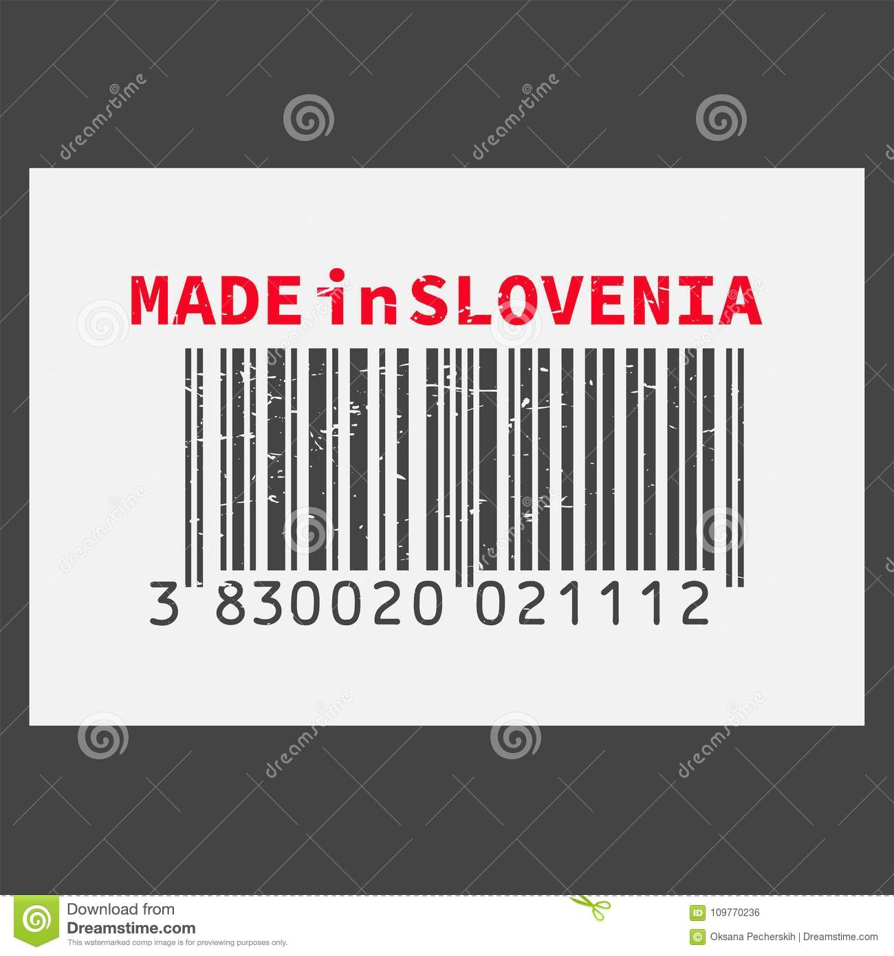 Vector Realistic Barcode Made In Slovenia On Dark Background  Stock