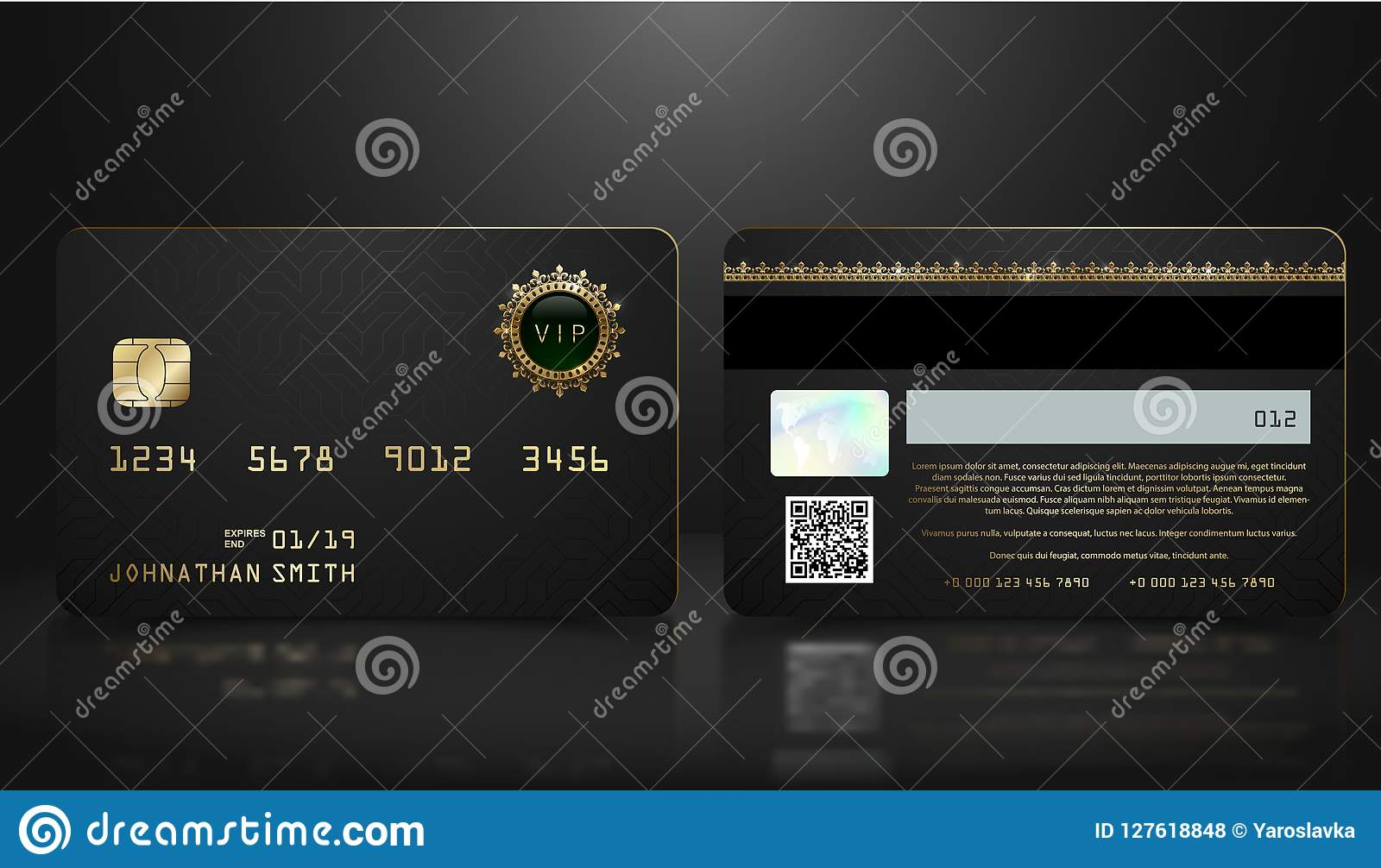 Vector realistic black credit card with abstract geometric background. Golden element credit card dark design template. Bank