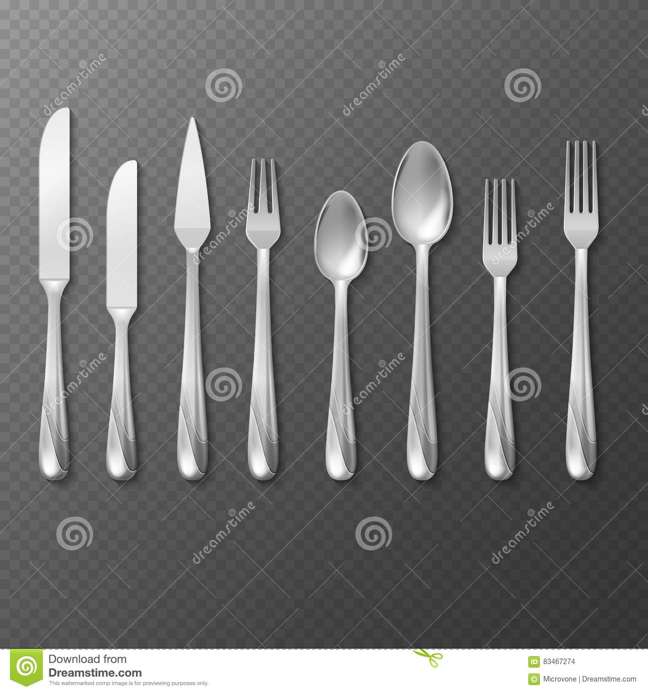 Vector Realistic Cutlery Set, Silver Or Steel Fork, Spoon ...