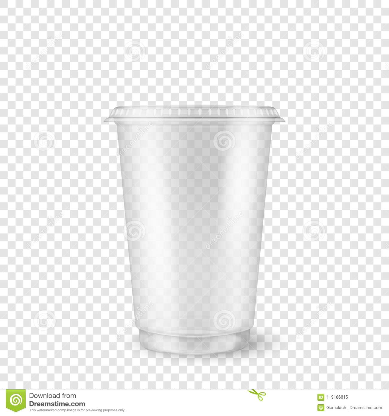 Vector Realistic 3d Empty Clear Plastic Disposable Cup