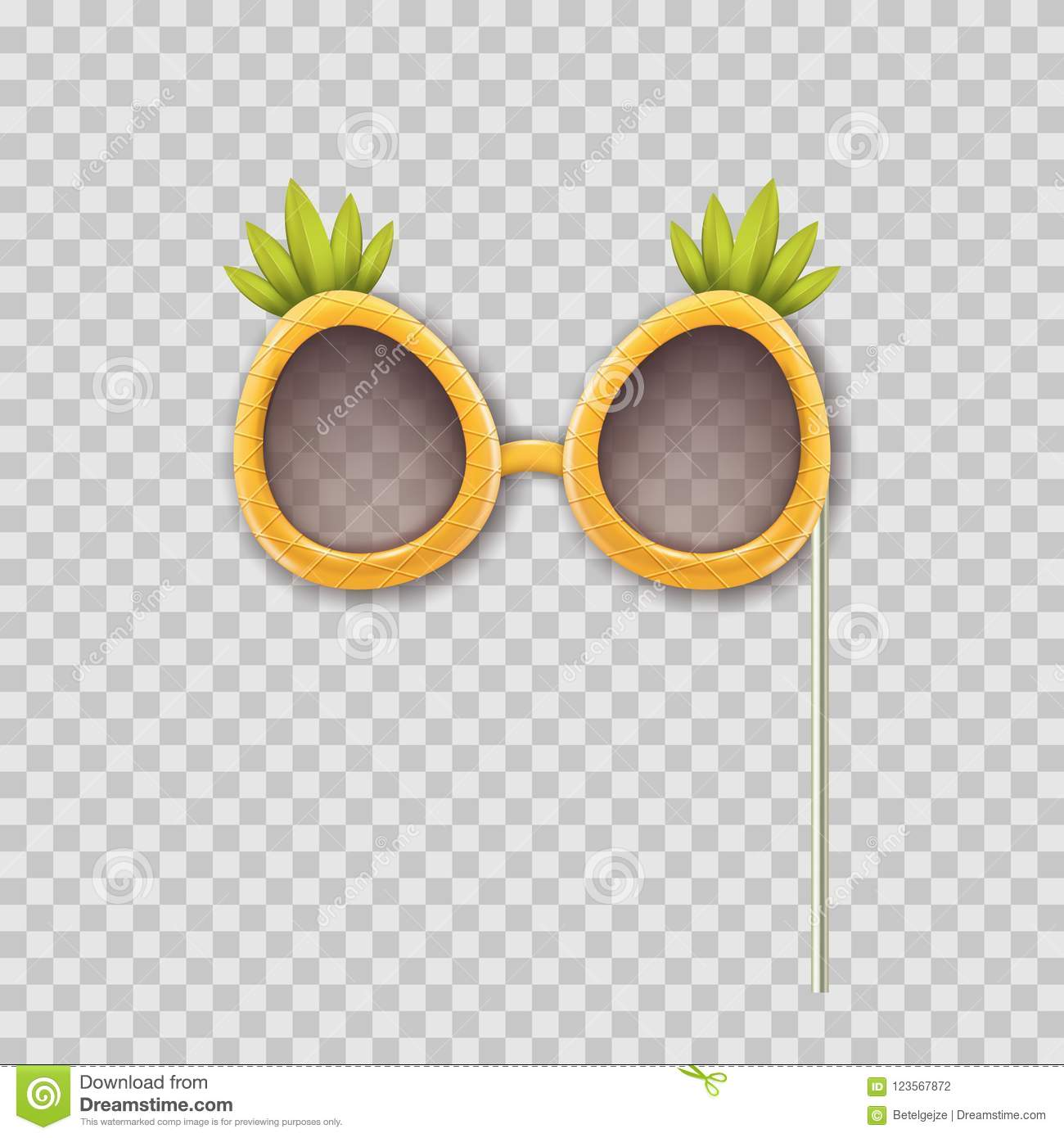 Vector realistic 3d illustration of photo booth props pineapple glasses. Object isolated on transparent background.