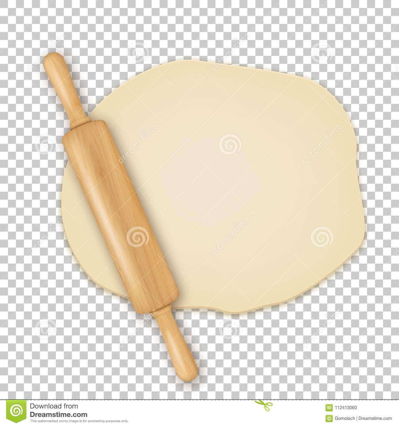 vector realistic 3d wooden rolling pin on roll out the dough closeup