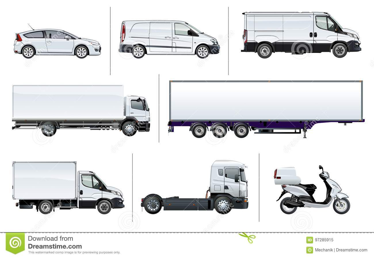 Vector realistic delivery transport mock-up