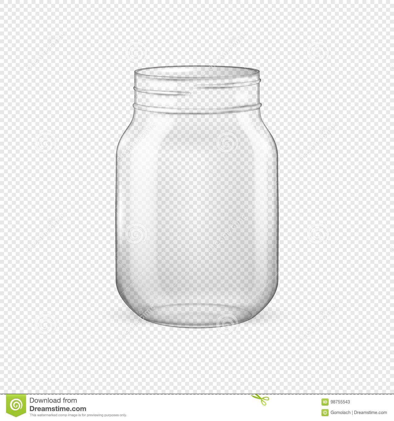 68db213168eb8 Vector Realistic Empty Glass Jar For Canning And Preserving Without ...