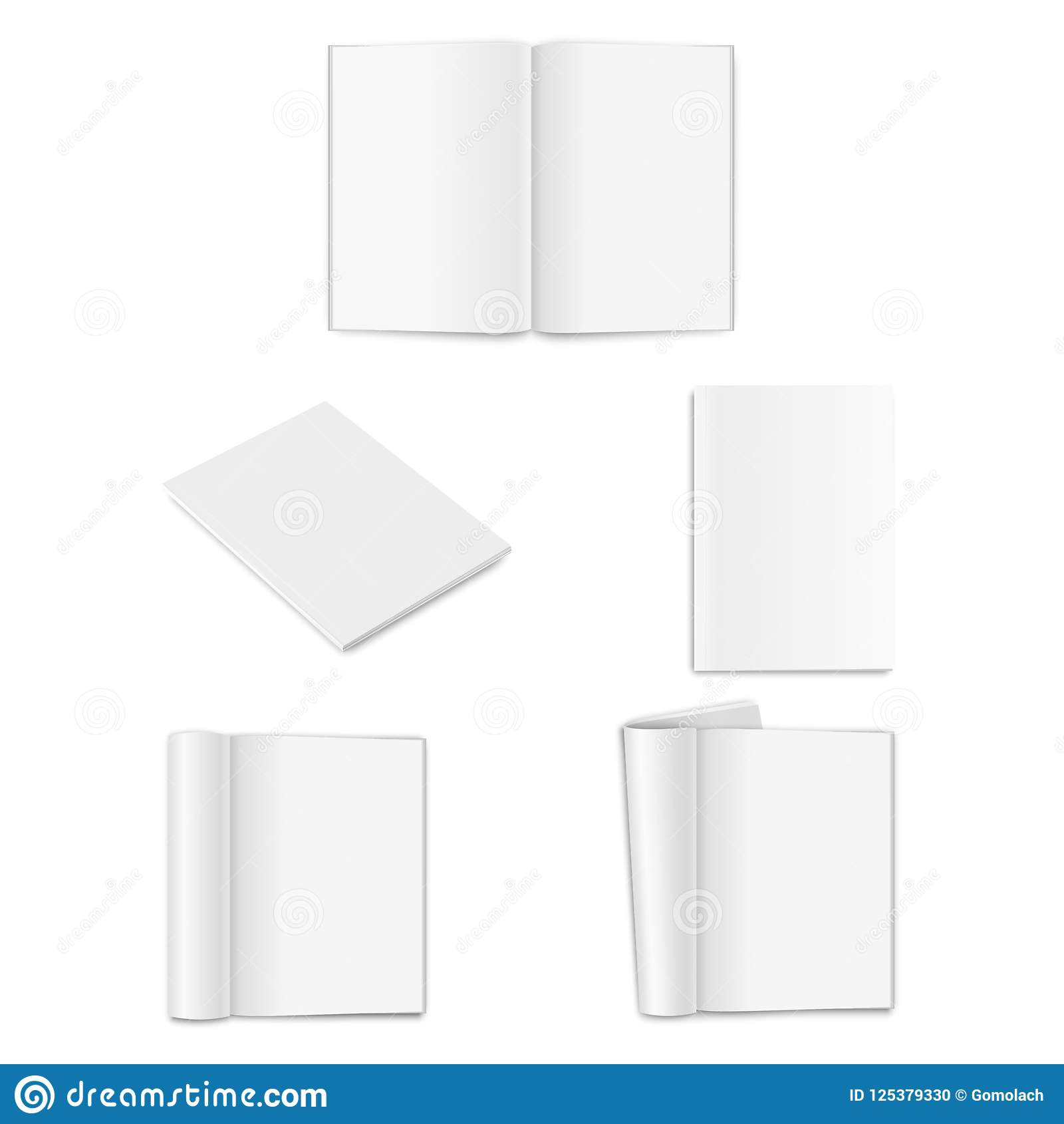 Vector realistic empty paper closed and opened A4 vertical magazine, book, catalog or brochure with rolled white paper