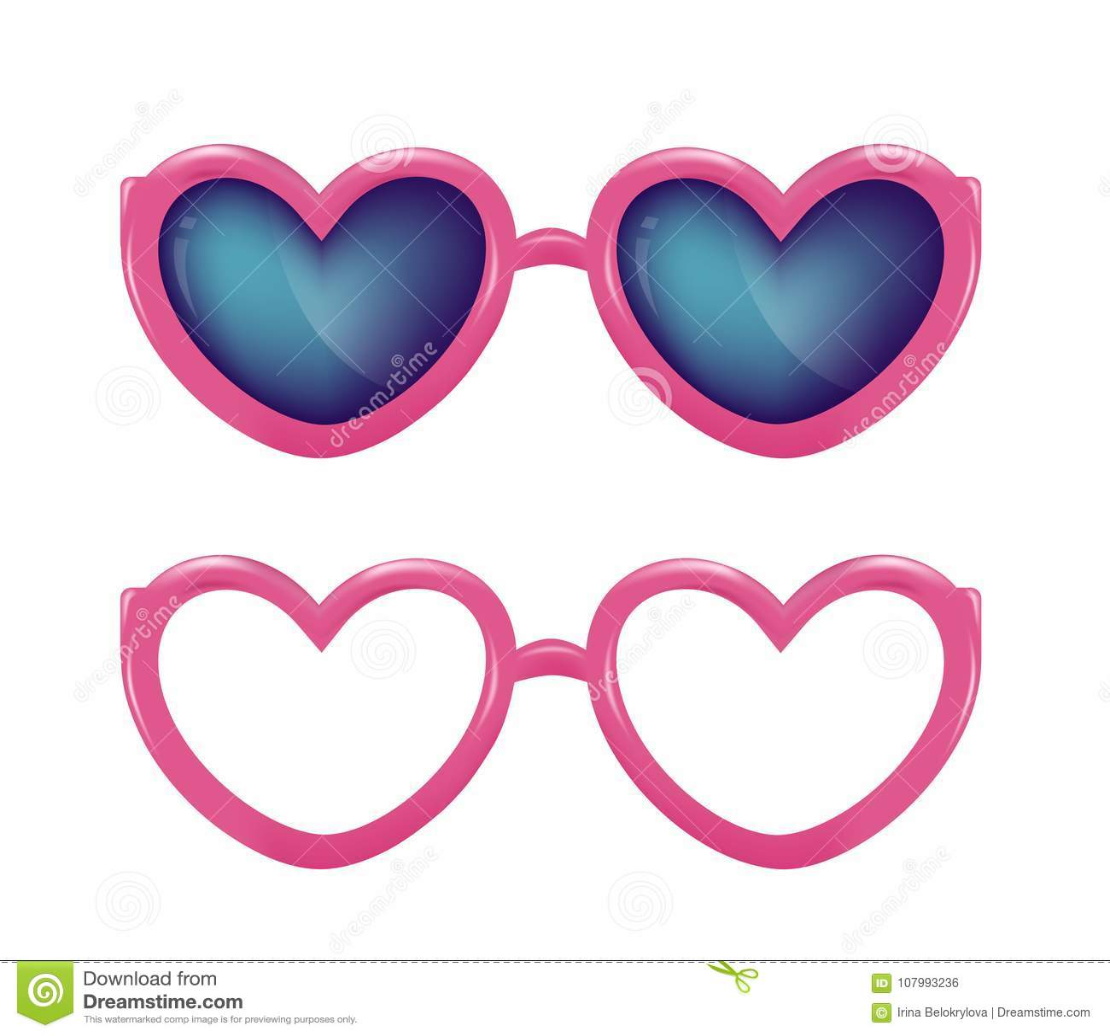 4cd52897d88 Vector Realistic Eyeglasses Heart Shape Photobooth Stock Vector ...
