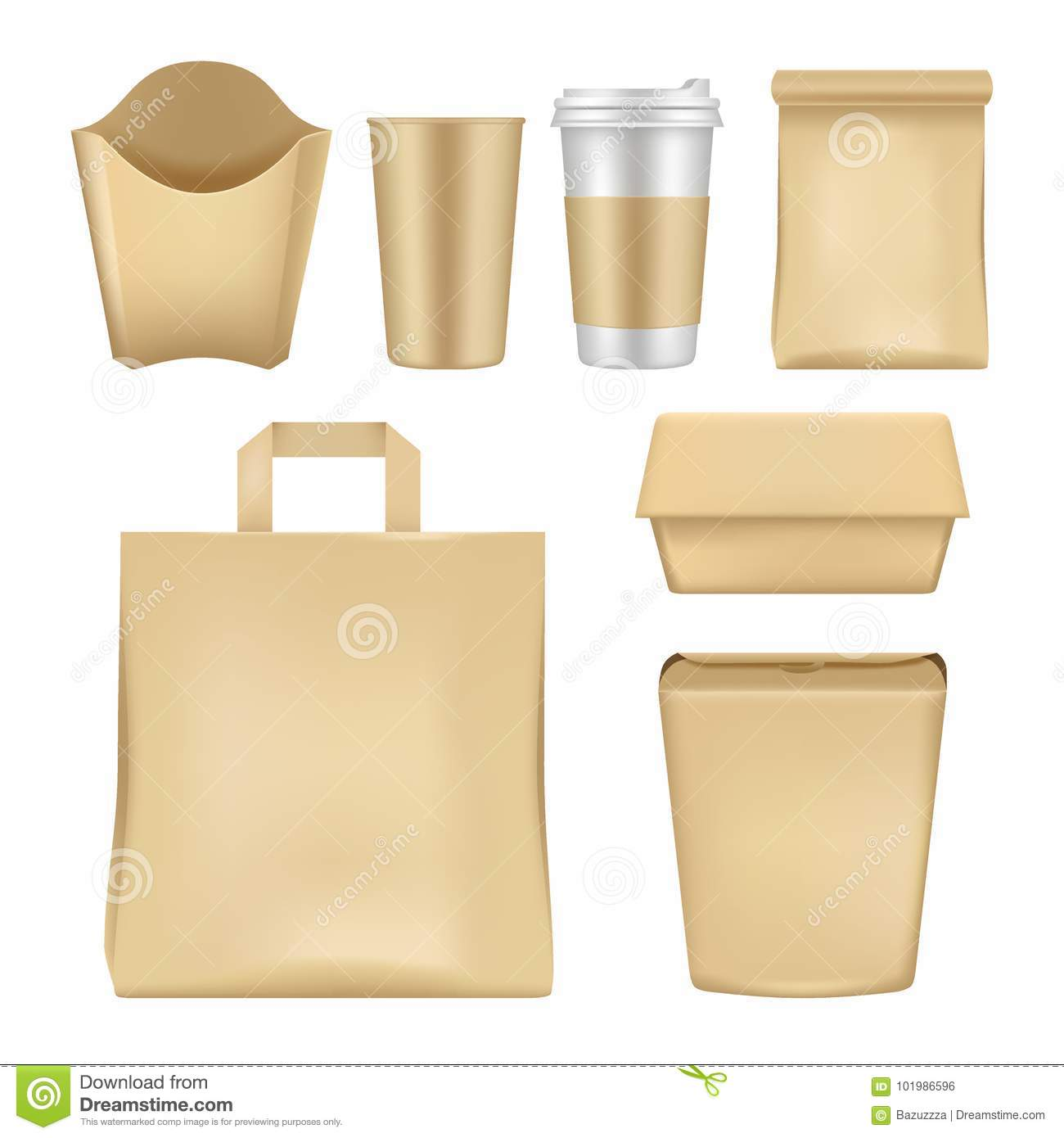 vector realistic fast food package set stock vector illustration