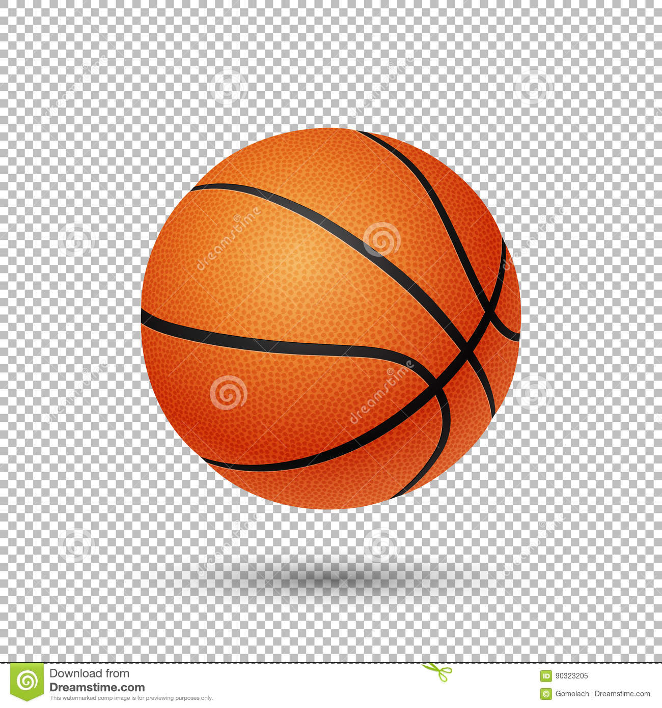 vector realistic flying basketball closeup on transparent background