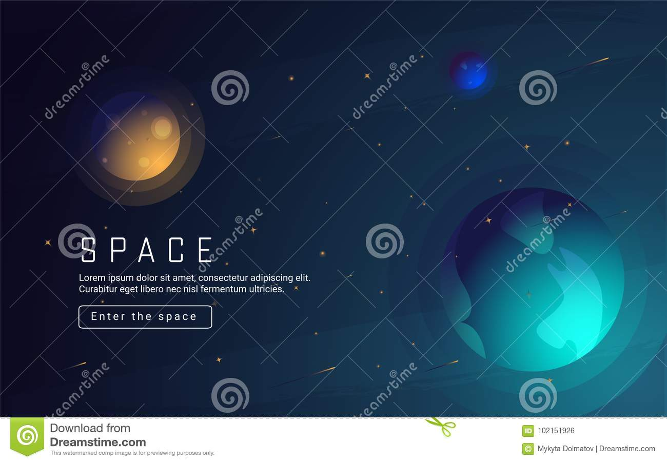 Vector Realistic And Futuristic Space Background With Bright Light Planets Stars