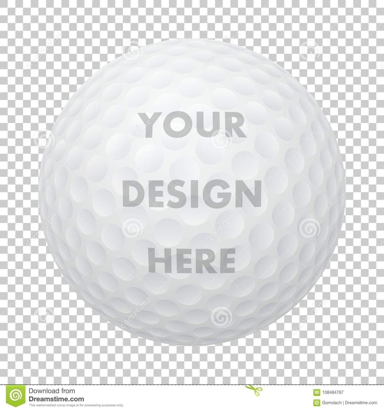 d114668f Vector realistic golf ball icon. Closeup isolated on transparency grid  background. Sports ball design template, mockup for graphics, printing etc.