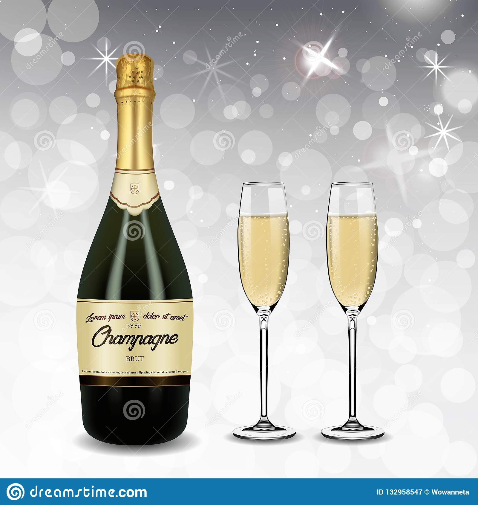 Vector Realistic green with gold label Champagne bottle and glasses with sparkling white wine isolated on white shine