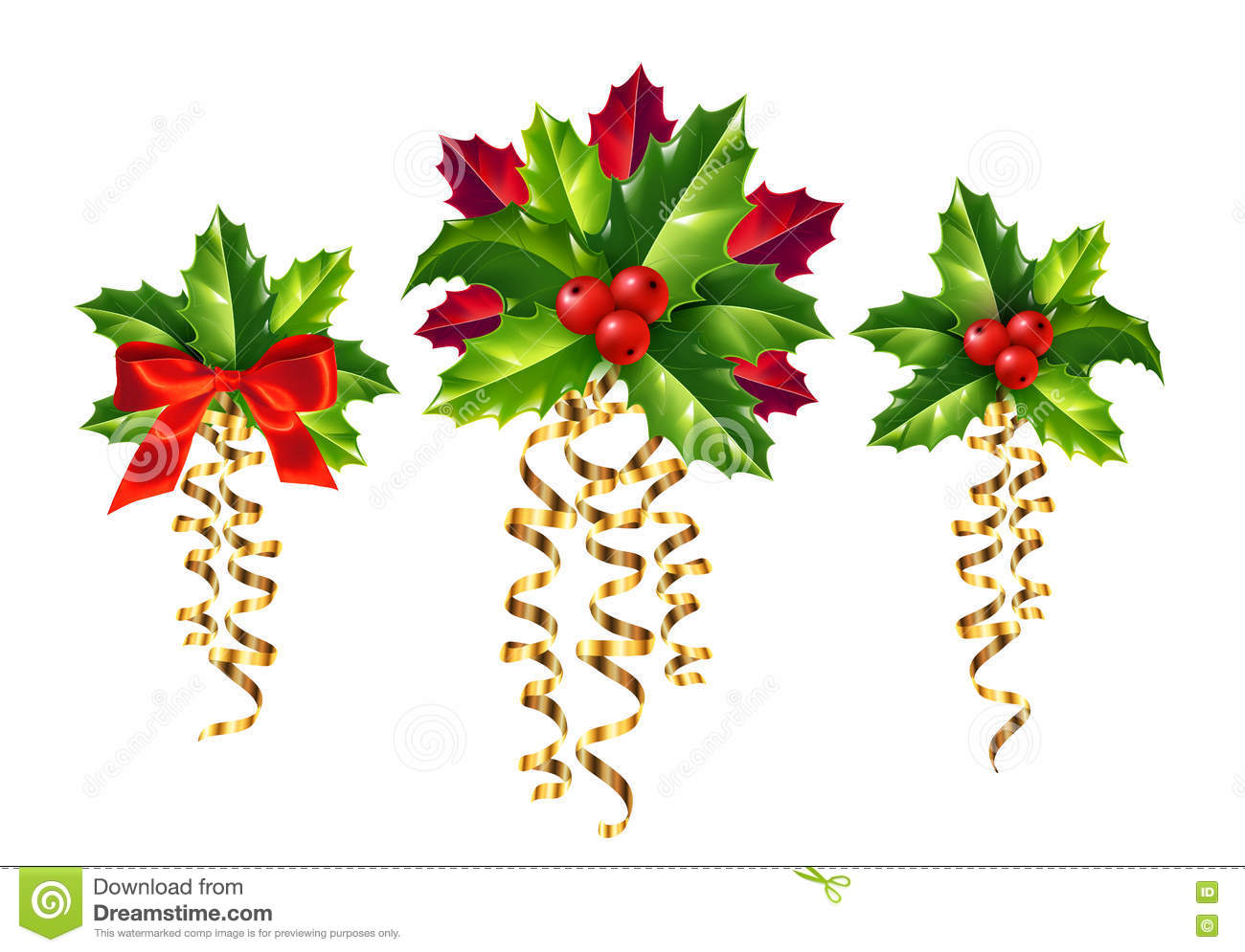 Holly christmas ornaments - Vector Realistic Holly Red And Golden Ribbons Christmas Ornaments Set