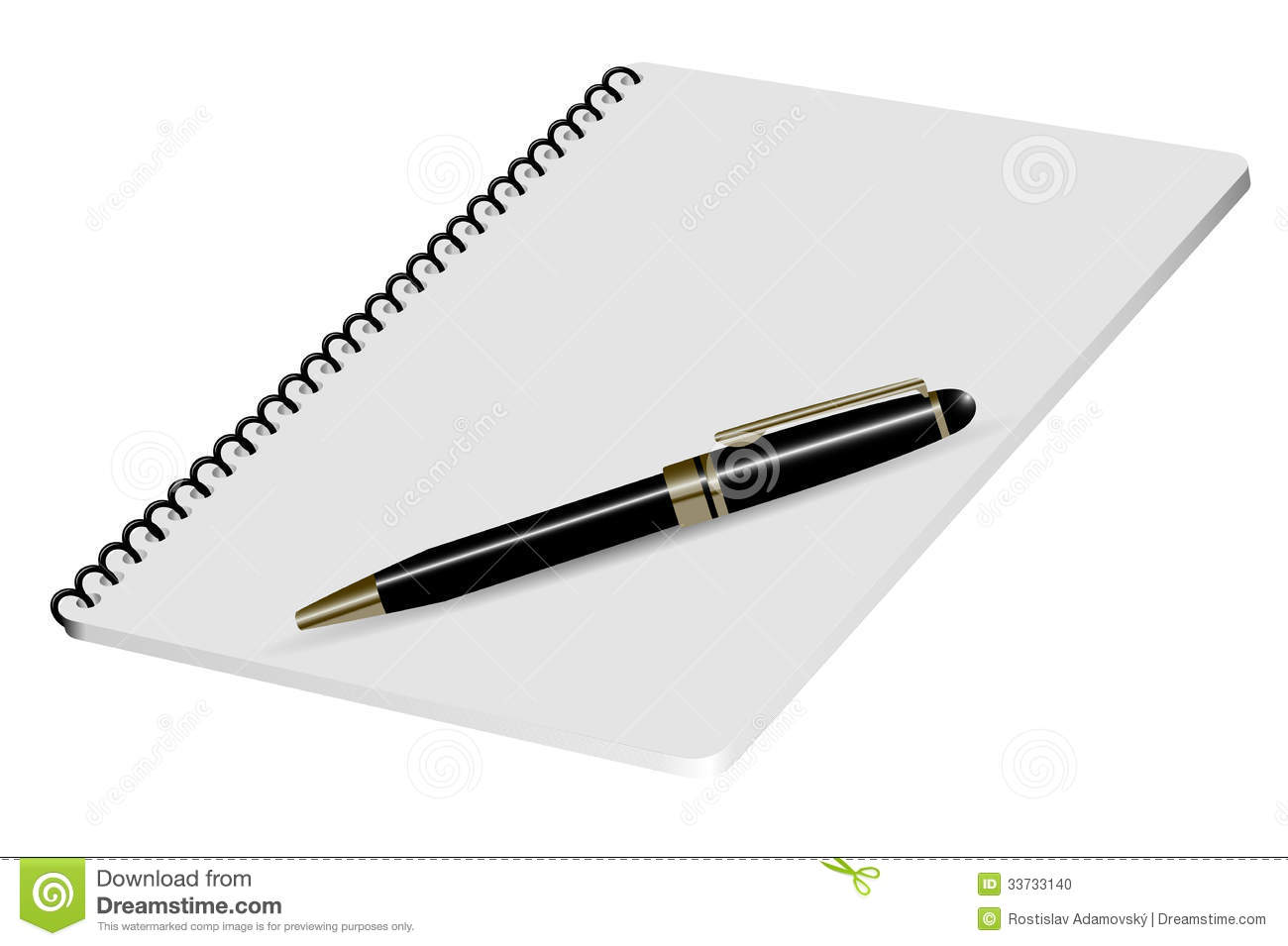 Vector realistic 3d illustration of white notepad with luxury black