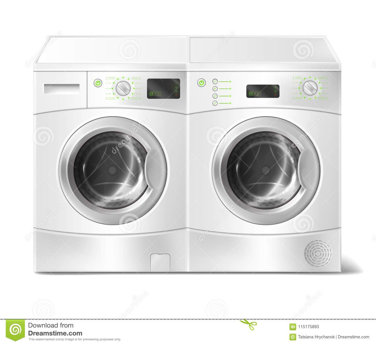 Vector realistic front-load washer and dryer