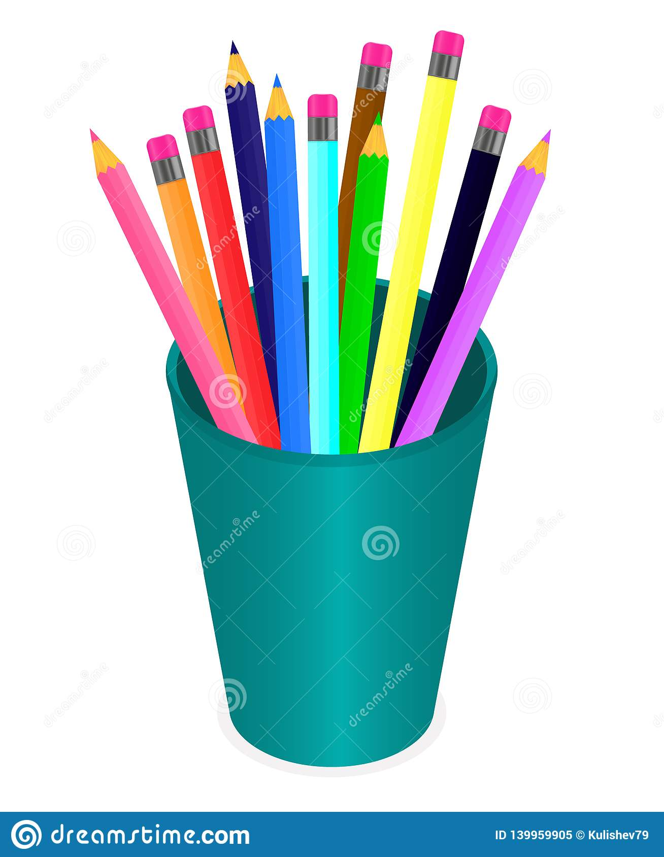 Vector drawing a set of multi-colored pencils in the organizer on a white background