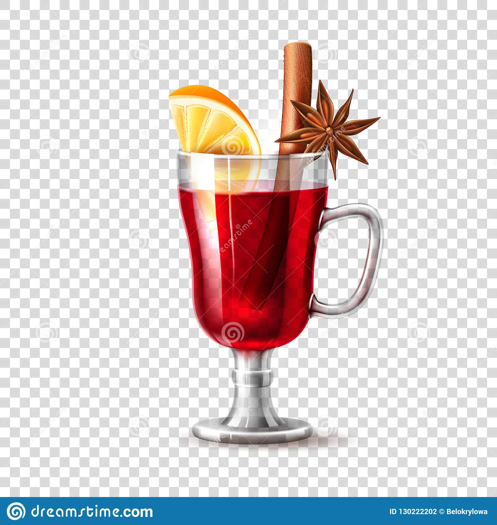 Vector Realistic Mulled Wine Glass Orange Anise Stock