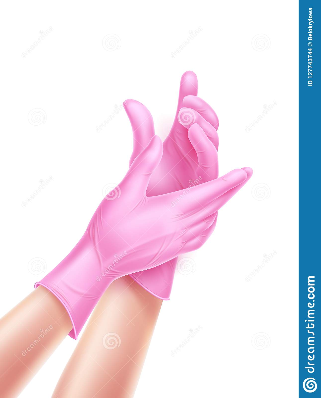 Vector Realistic Nurse Hand Wearing Sterile Gloves Stock Vector