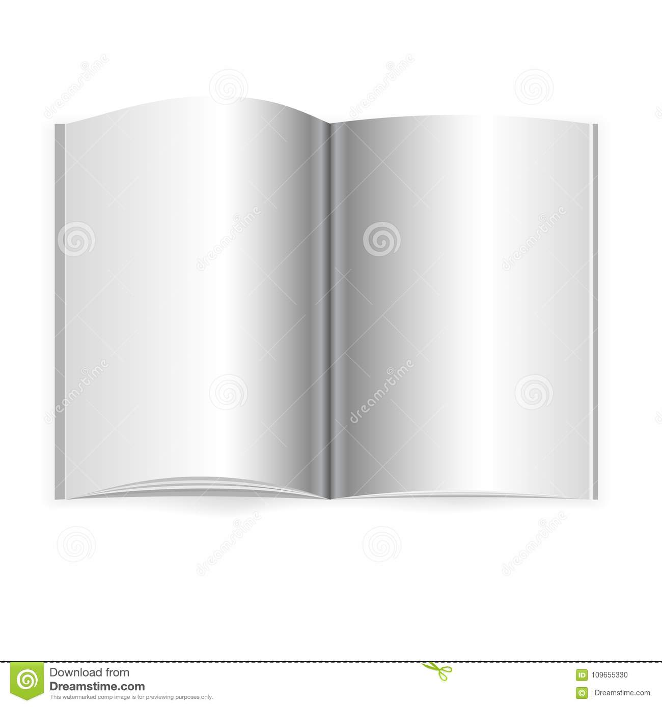 Vector Realistic Opened Book, Journal Or Magazine Mockup With Sheet ...