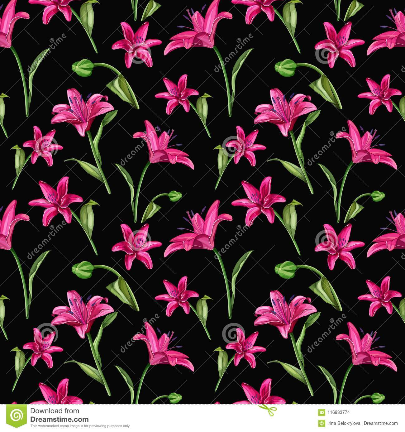 Vector Realistic Pink Lily Blossom Leaves Stem Set Stock Vector