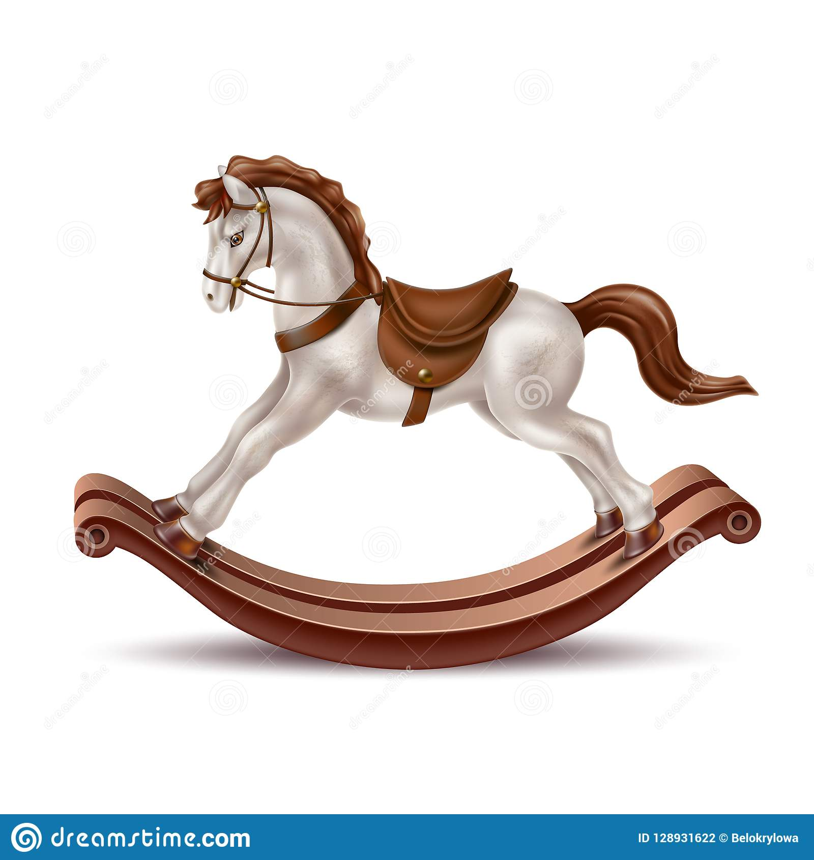 Vector Realistic Rocking Horse Vintage 3d Toy Stock Vector Illustration Of Happy Cartoon 128931622