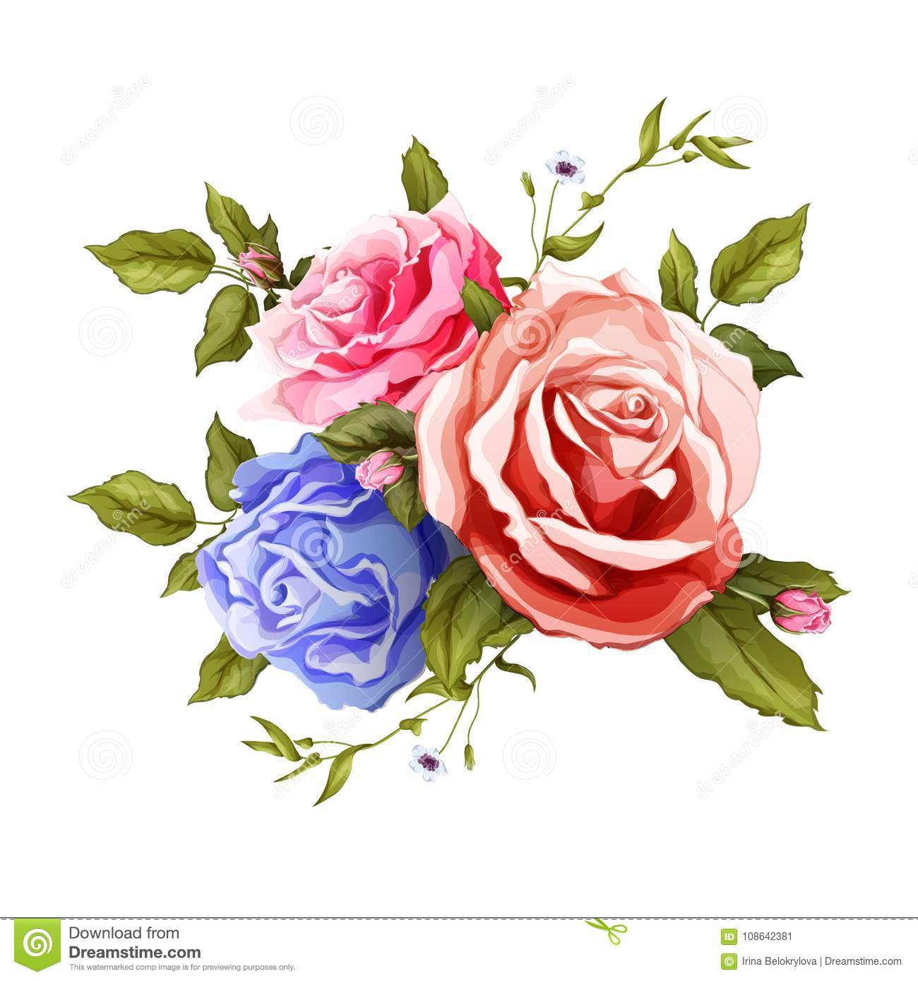 Vector Realistic Rose Bouquet Leaves Pattern Stock Vector