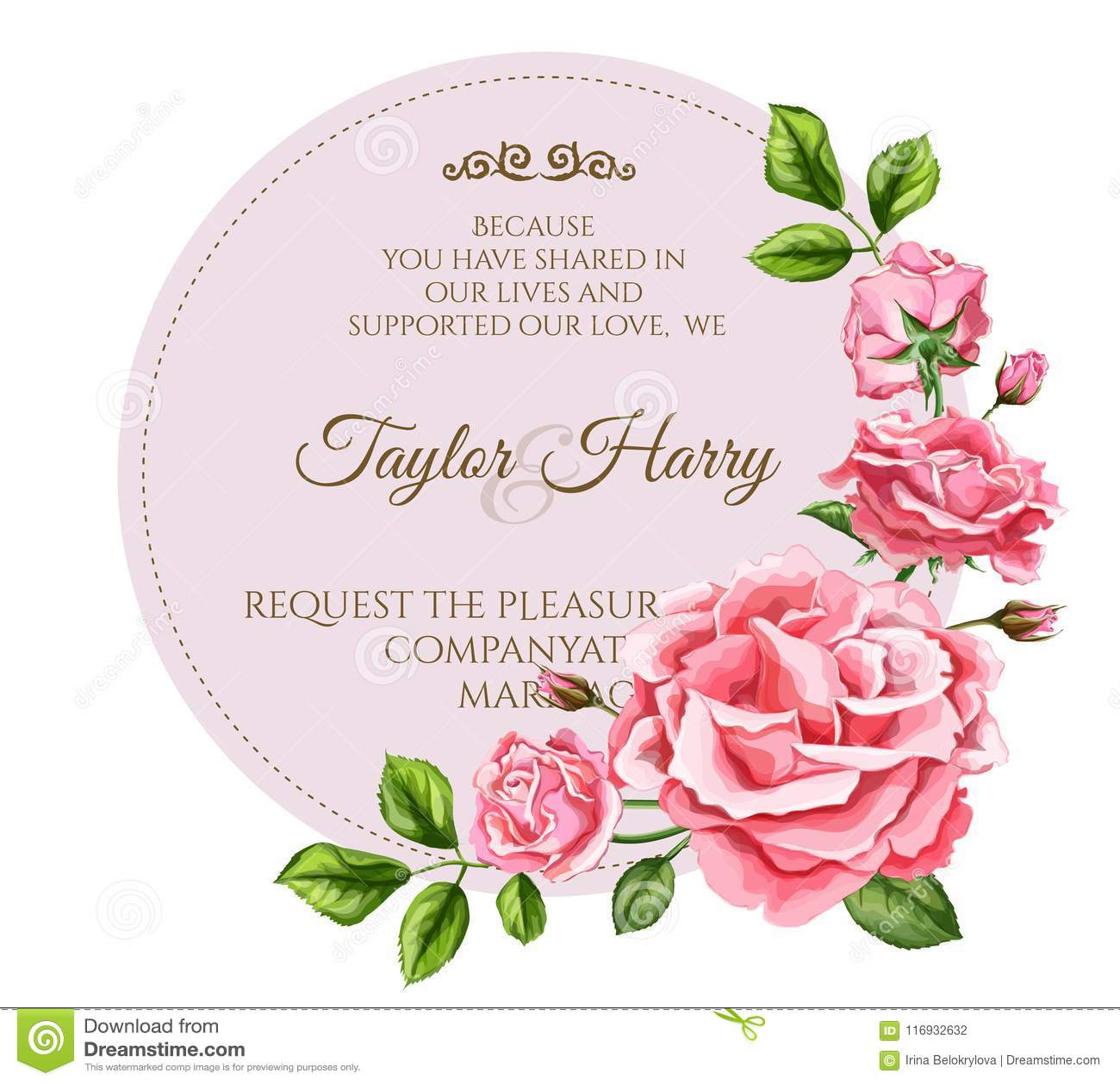 vector watercolor rose flower wedding card stock vector