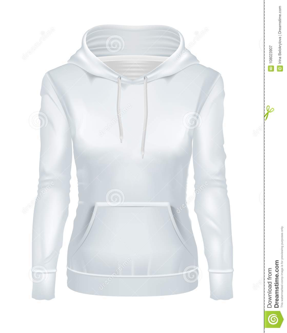 Vector Realistic White Girl Hoodie Template Mockup Stock Vector ...