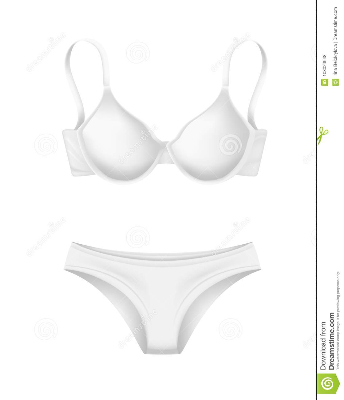 412c5a0e384 Vector realistic white woman panties, bra mockup. Classic female underwear.  Women fashion clothing design template, front view.