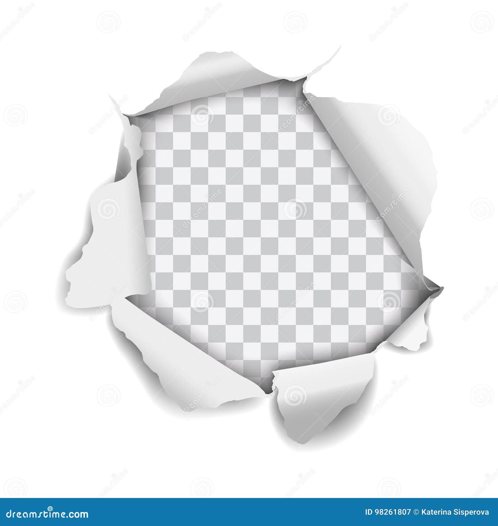 Vector realistisch die gat in document wordt gescheurd op witte achtergrond wordt geïsoleerd