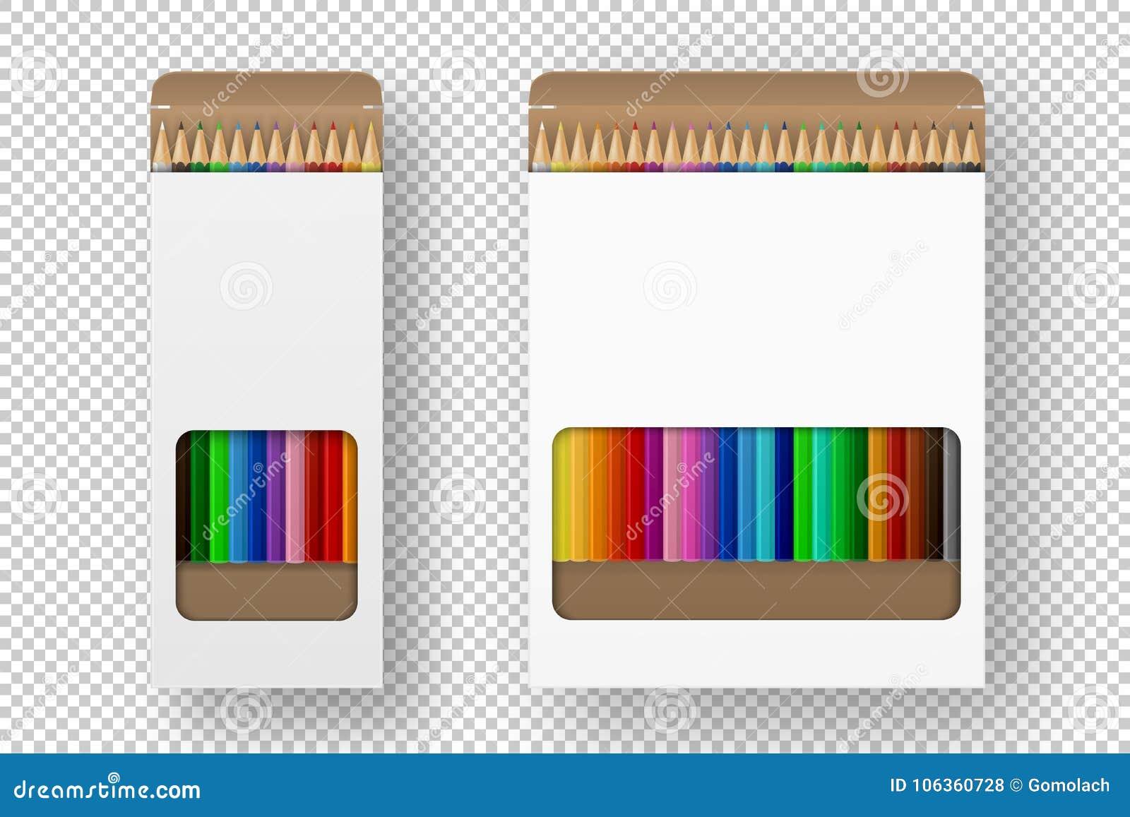 Vector realistische doos van de vastgestelde die close-up van het kleurpotlodenpictogram op witte achtergrond wordt geïsoleerd On