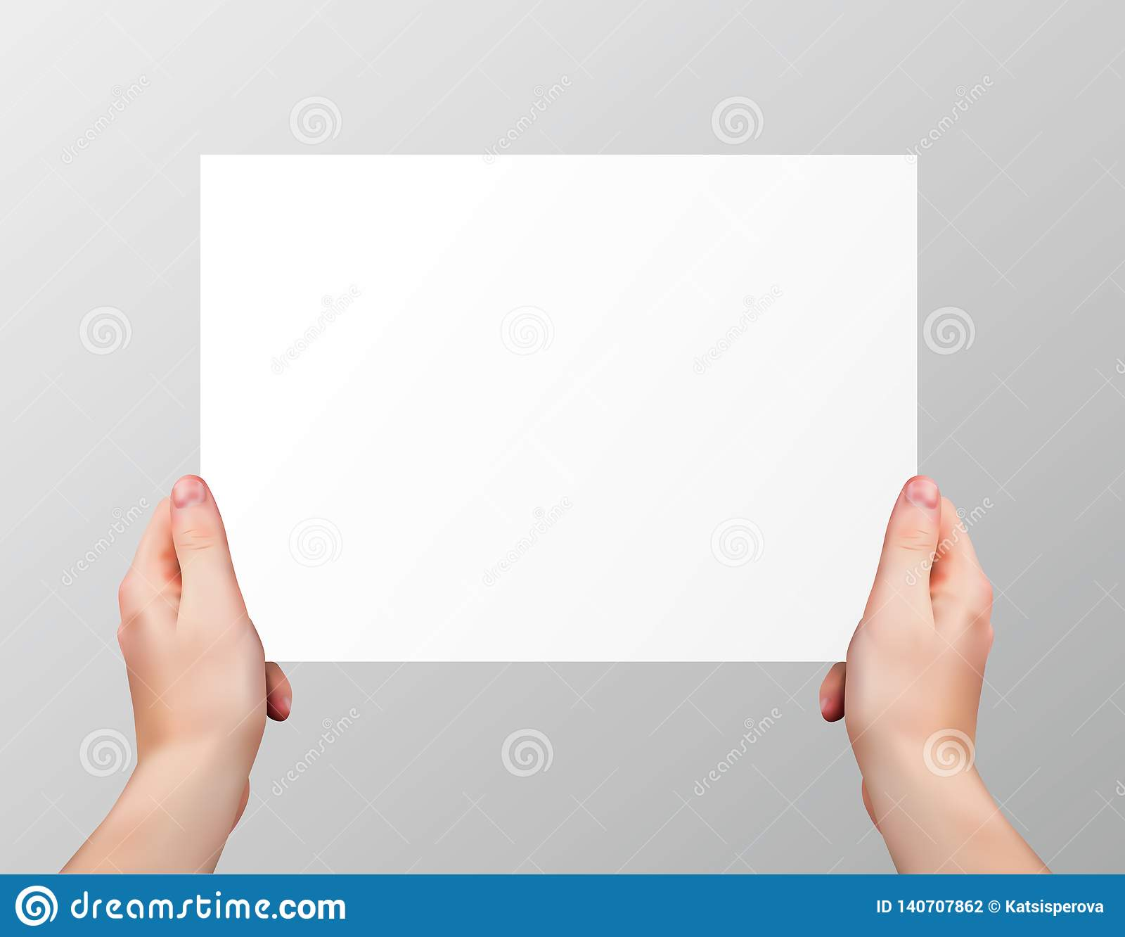 Vector realistische handen die lege horizontale document pagina houden die op grijze achtergrond wordt geïsoleerd