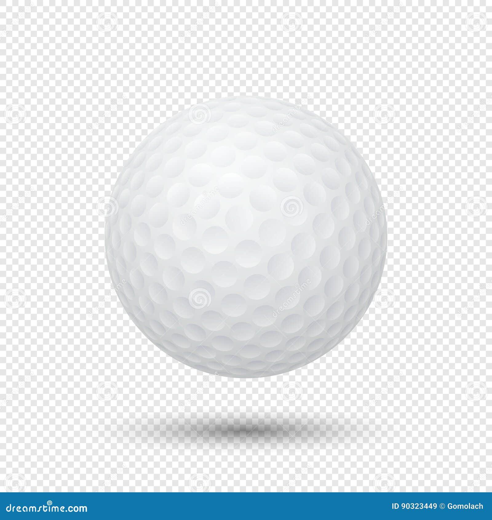 Vector realistische vliegende golfbalclose-up die op transparante achtergrond wordt geïsoleerd Ontwerpmalplaatje in EPS10