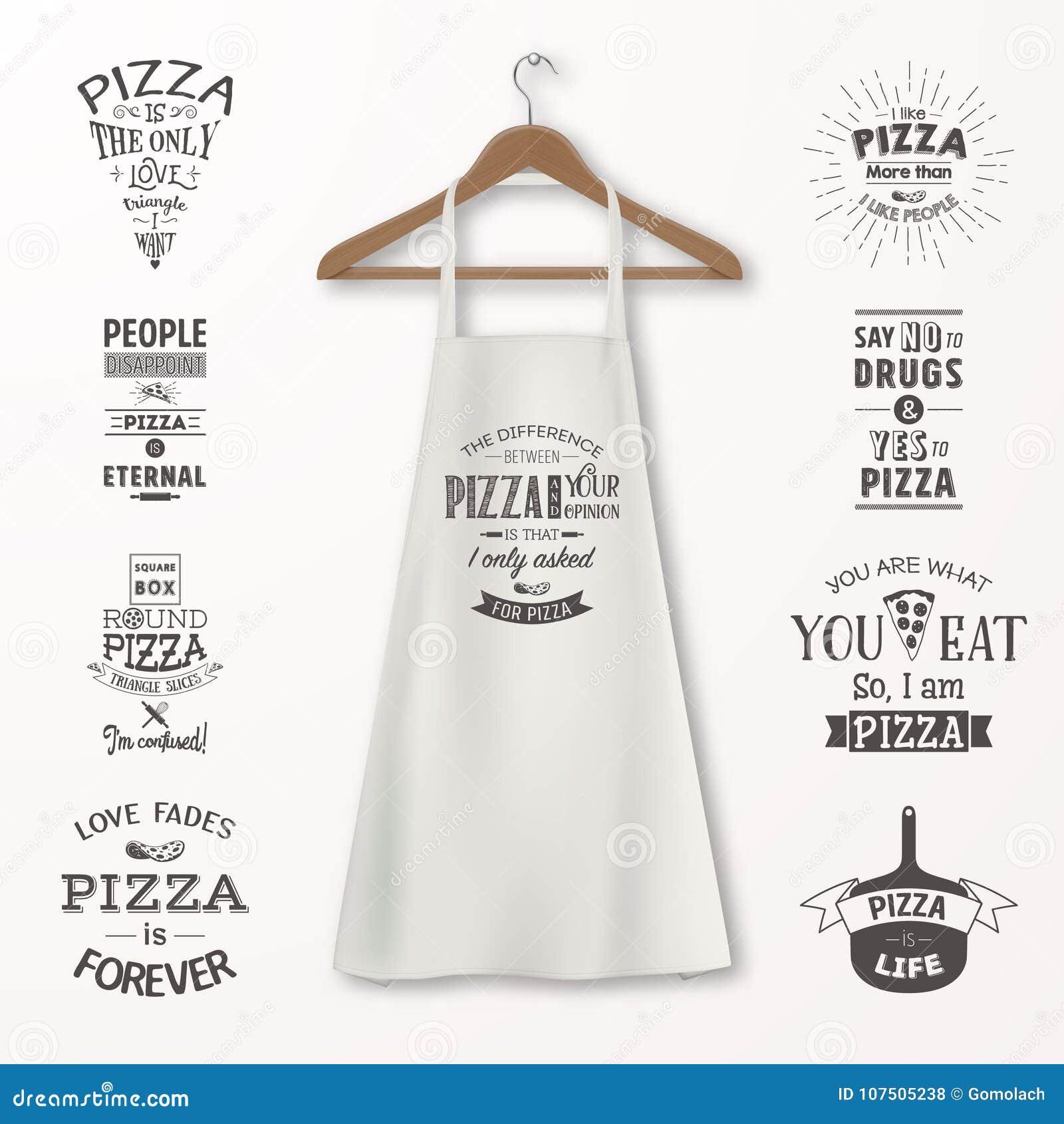 Vector realistische witte katoenen keukenschort met kleren houten hanger en citaten over pizza vastgestelde close-up