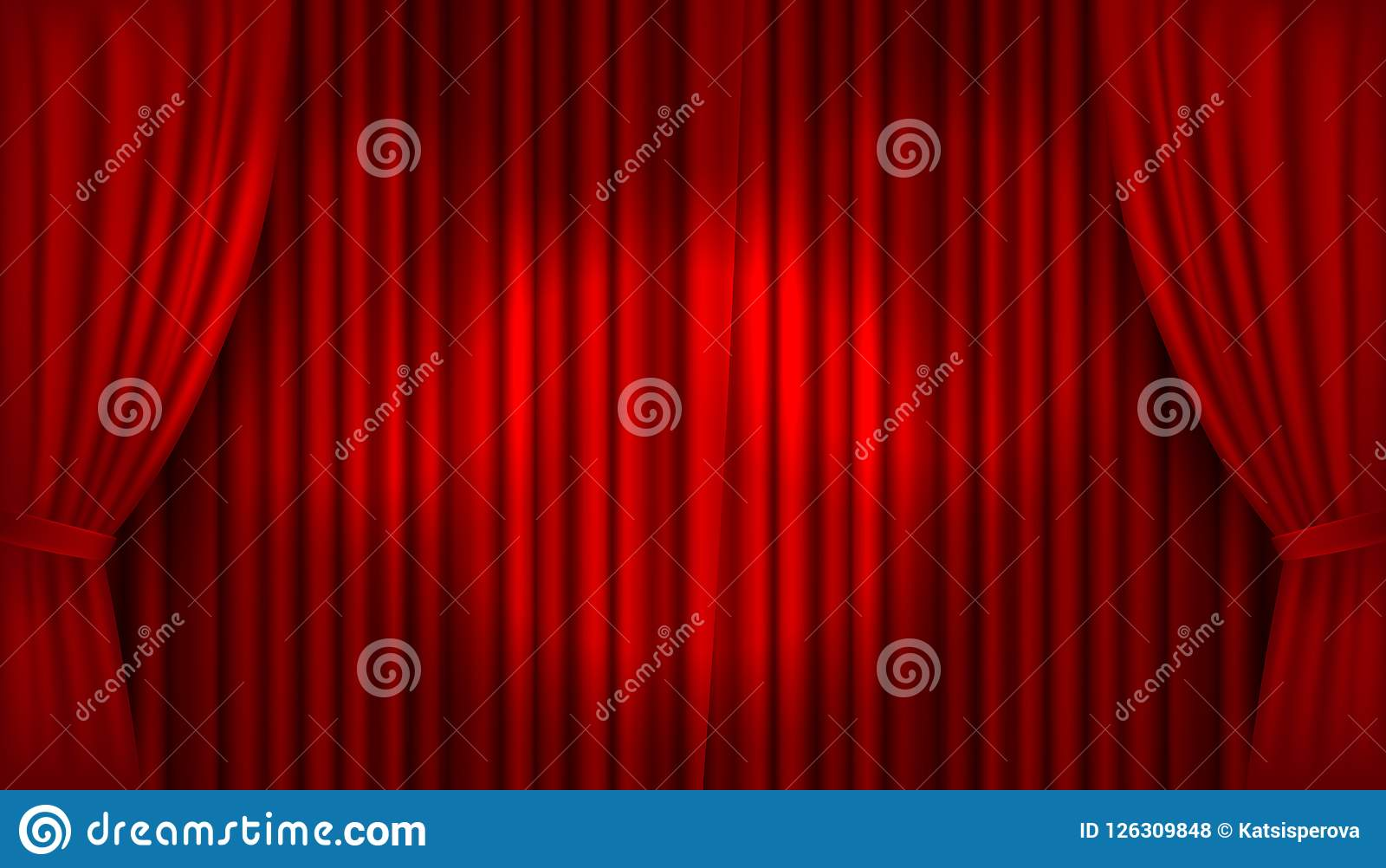 Vector realistisches belichtetes Stadium mit offenen roten Samtvorhängen