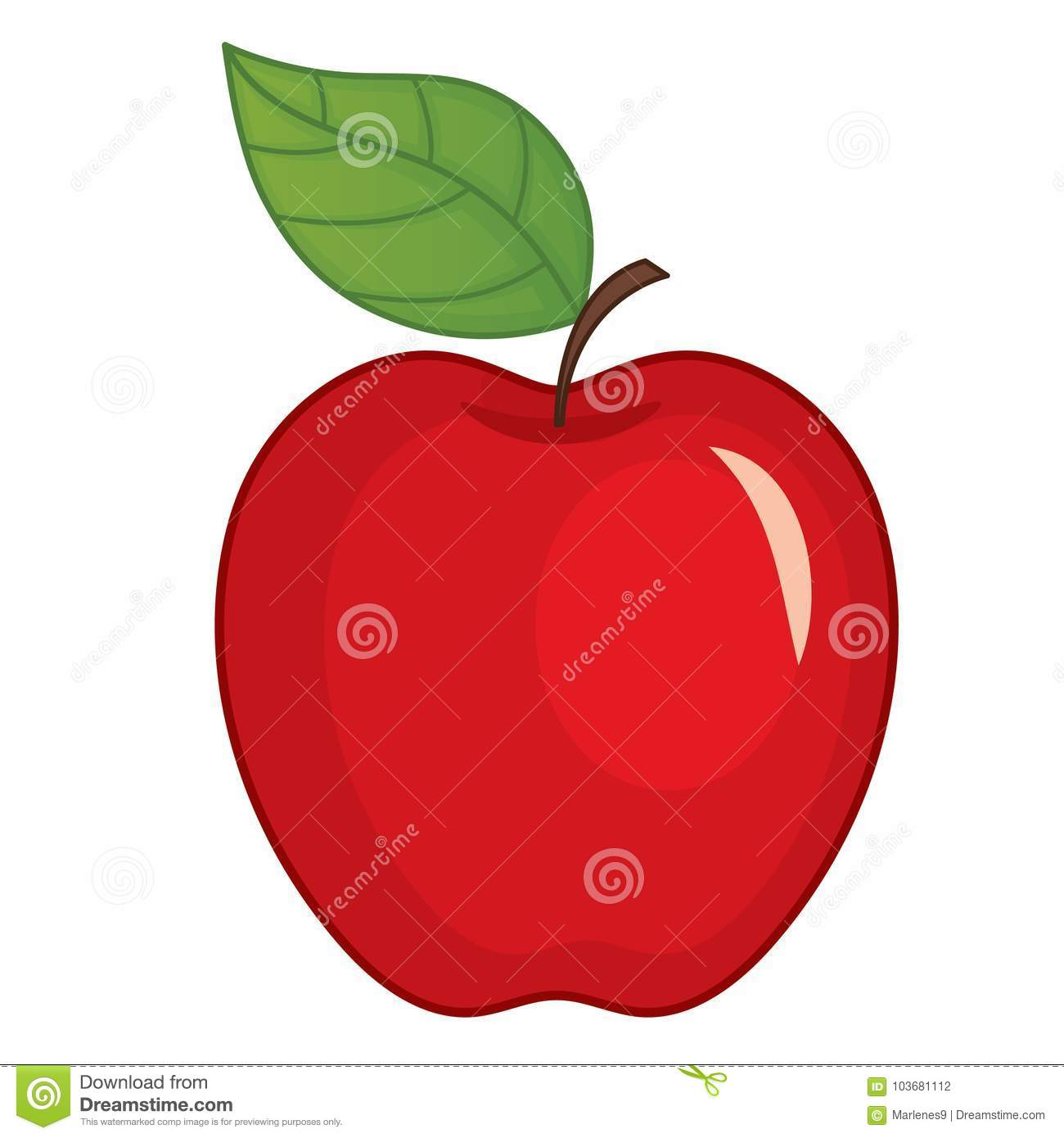 Vector Red Apple with Leaf