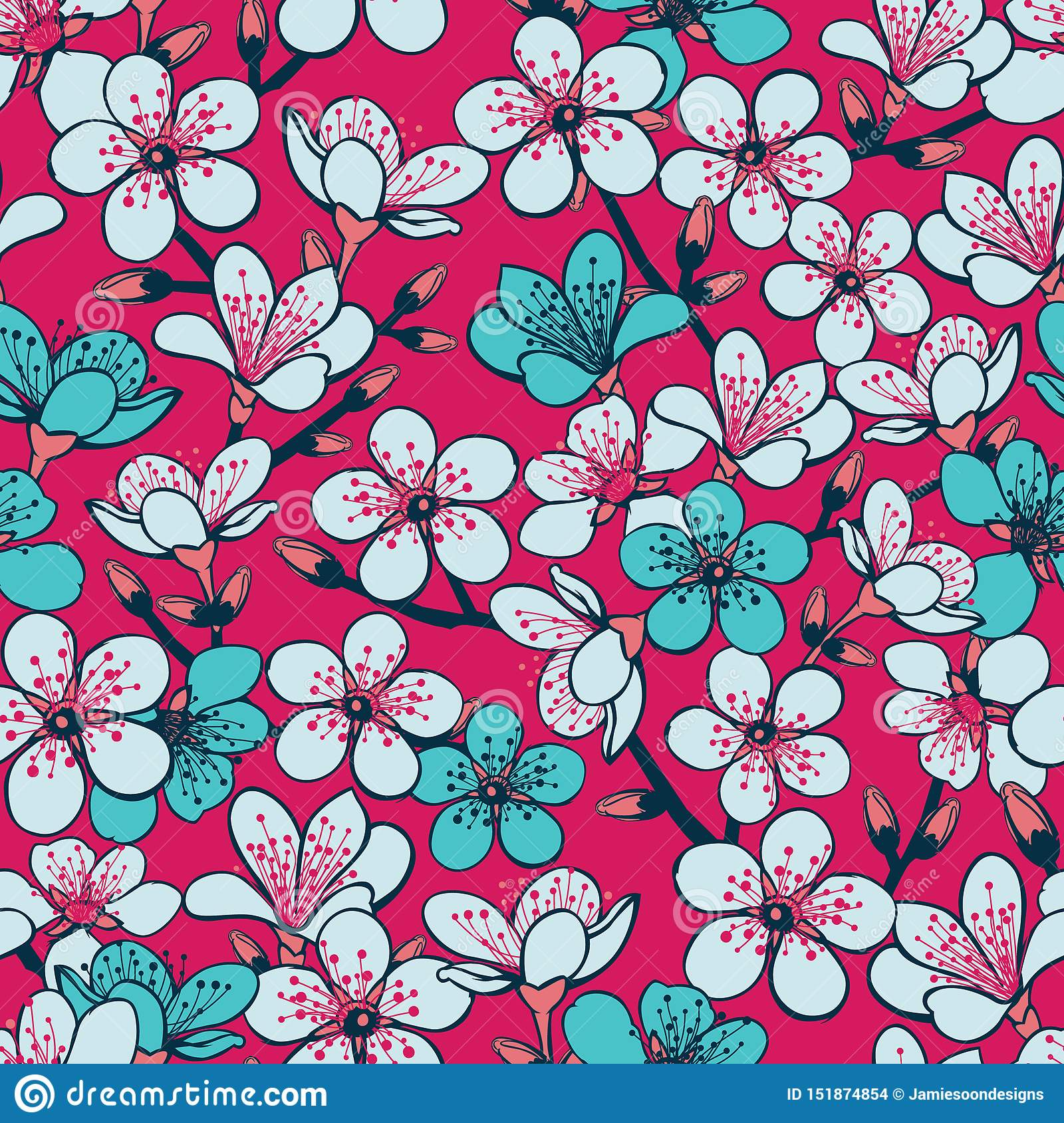 Vector red background with light grey and cyan cherry blossom sakura flowers and dark blue stems seamless pattern background