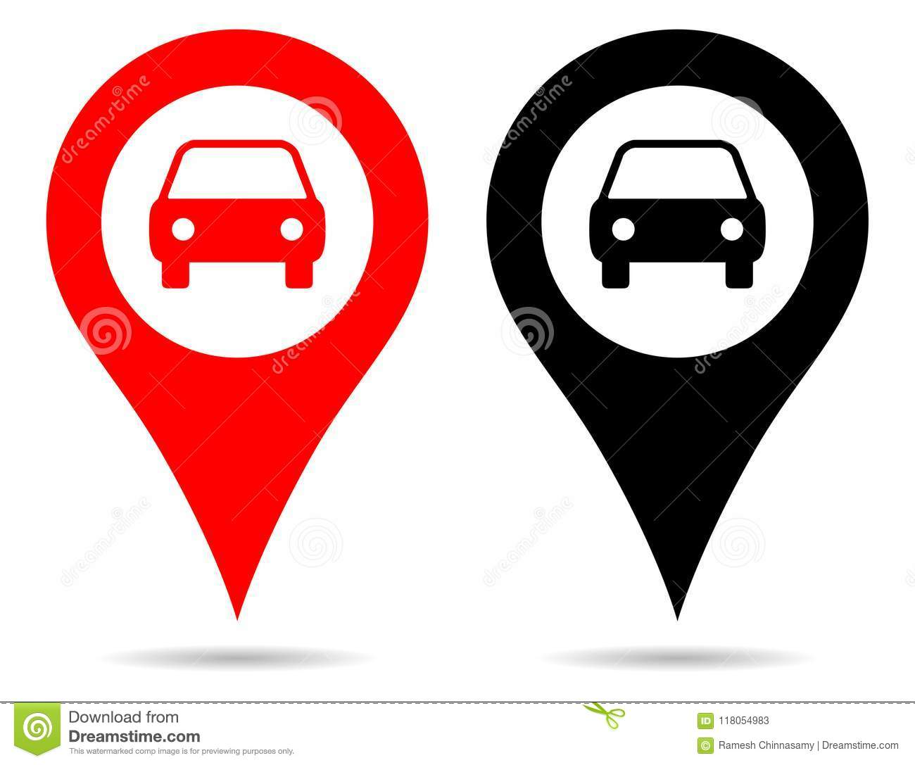 Vector Red And Black Color Pointer Map Pin Navigation With Car