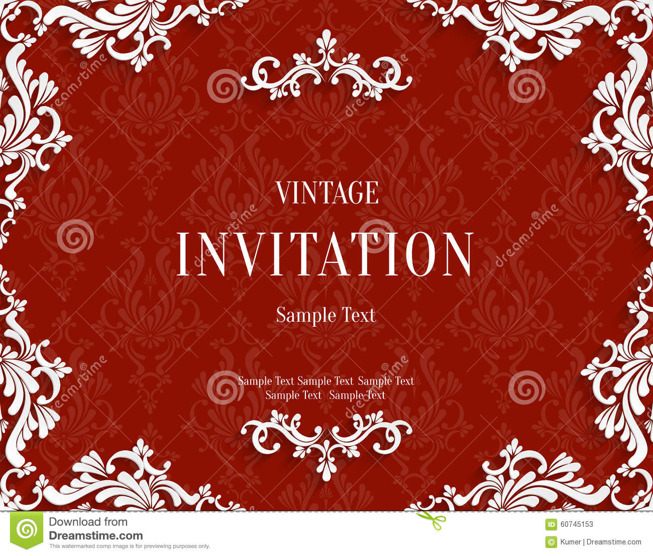Vector Red 3d Vintage Invitation Card with Floral Damask Pattern