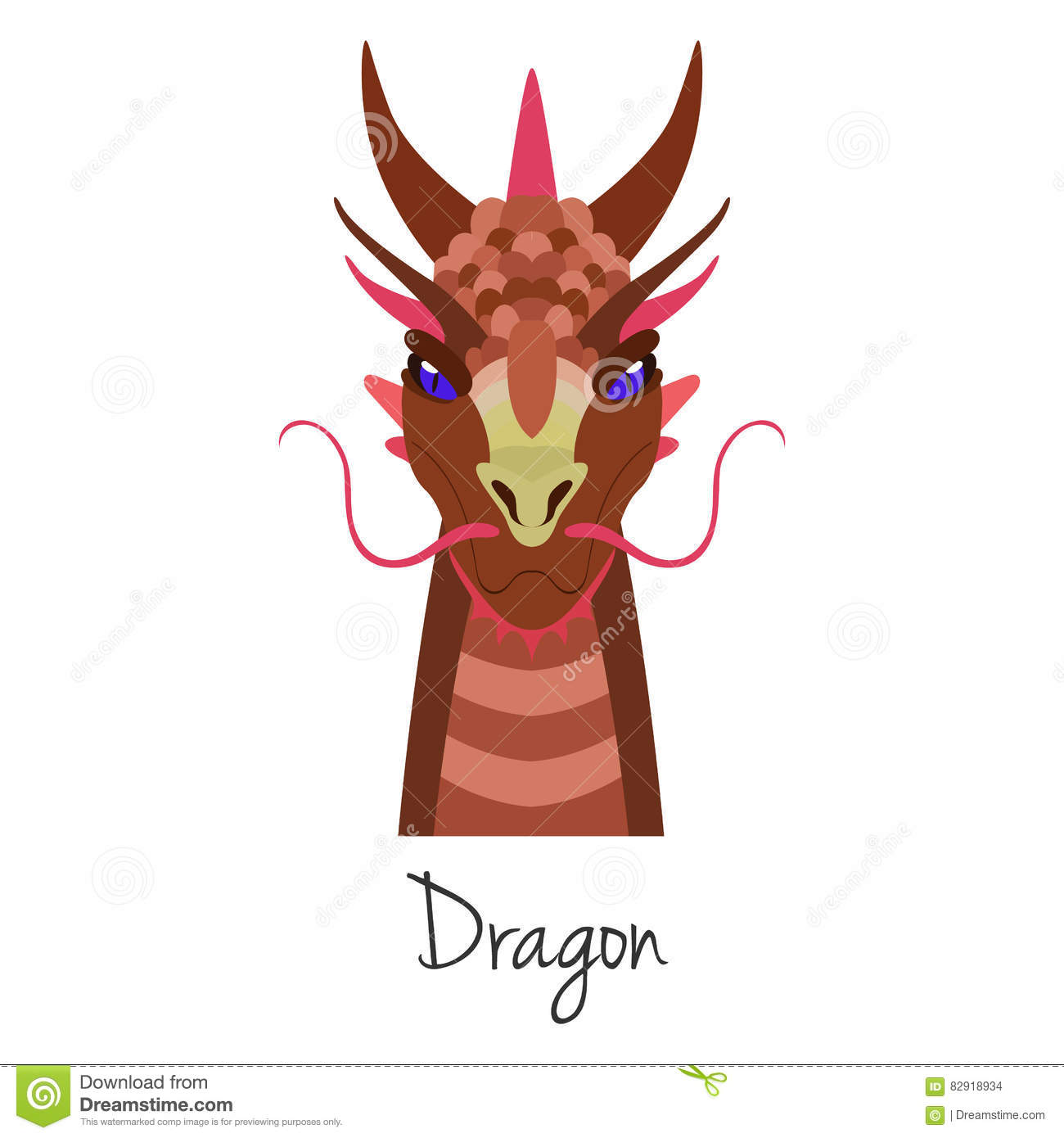 Vector Red Dragon Face Isolated Animal Of Chinese Zodiac Symbol