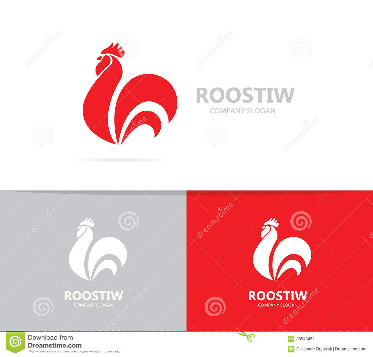 Vector Of Red Fire Rooster And Logo Combination. Unique Bird And ...