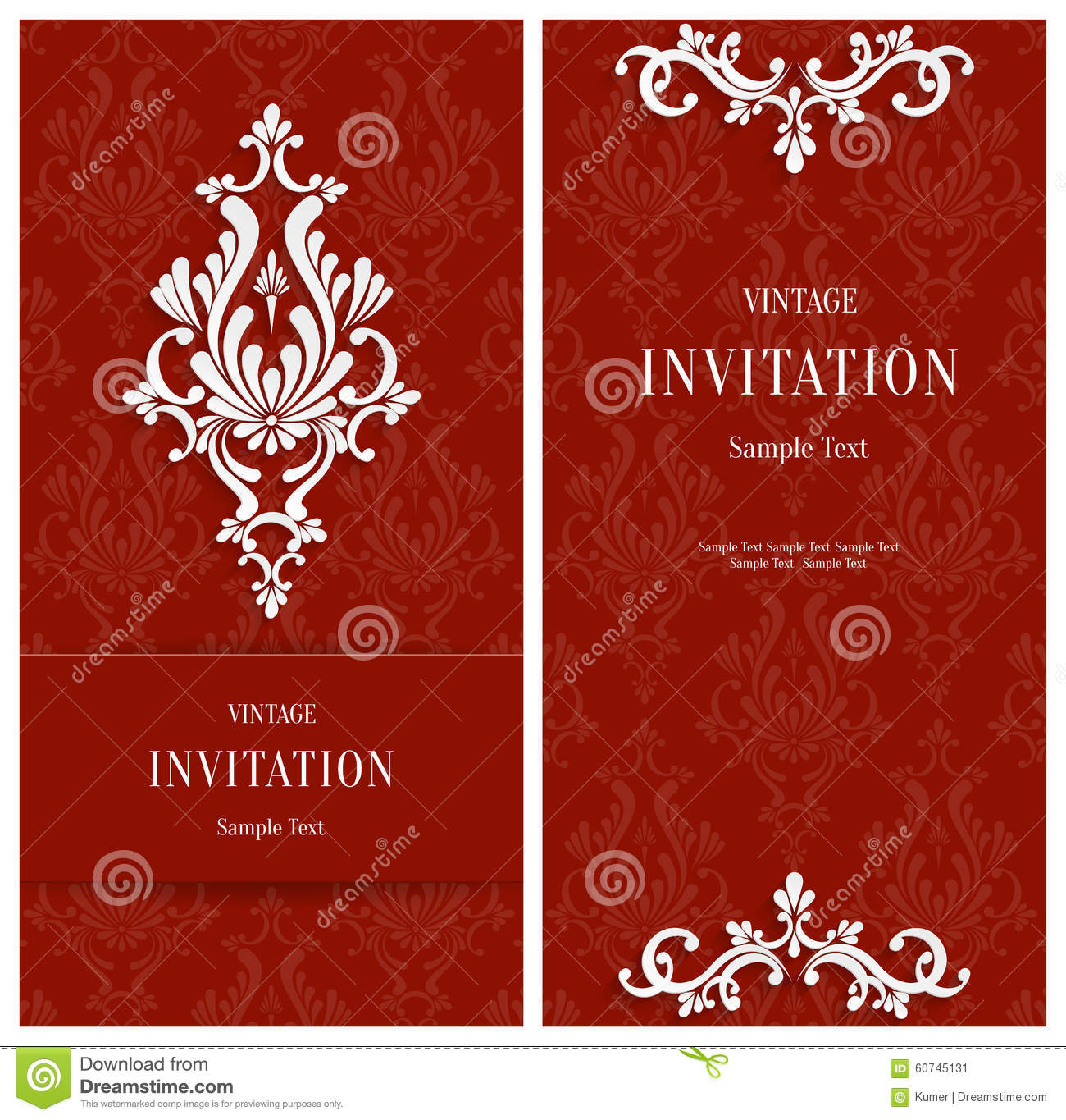 Vector Red Floral 3d Background Template For Christmas Or – Christmas Invitation Cards Template