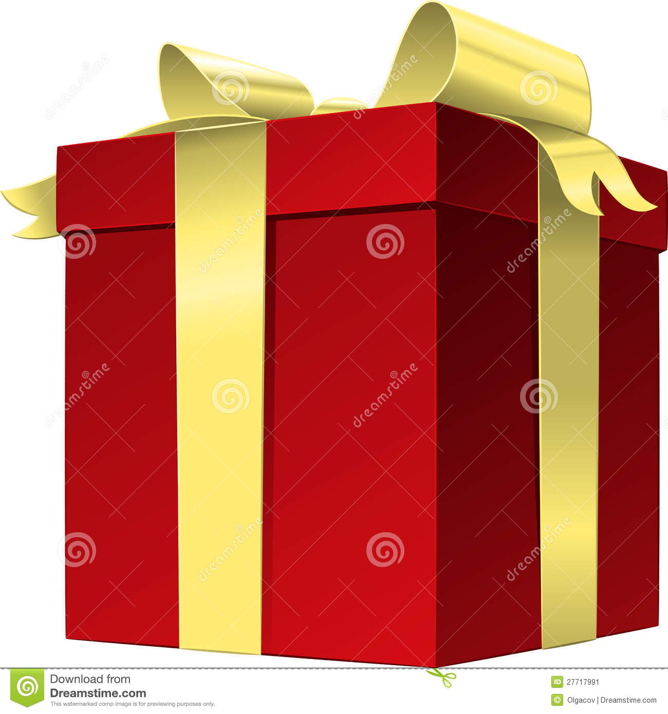 vector red gift box with gold ribbon bow stock vector