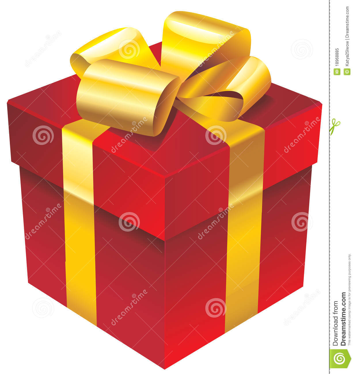 vector red gift box with golden ribbon and bow stock