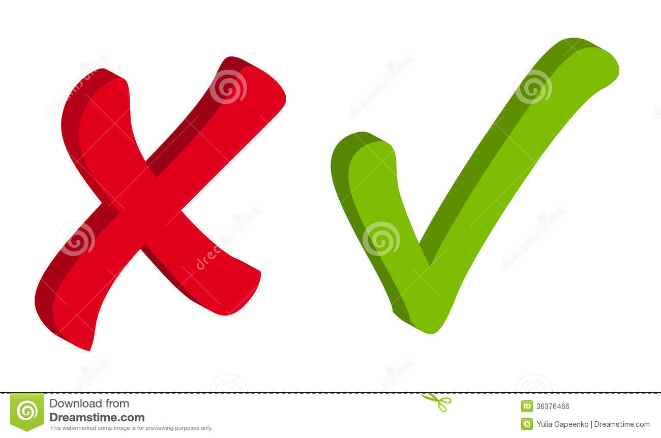 Vector Red And Green Check Mark Icons Royalty Free Stock ... X And Check Icon