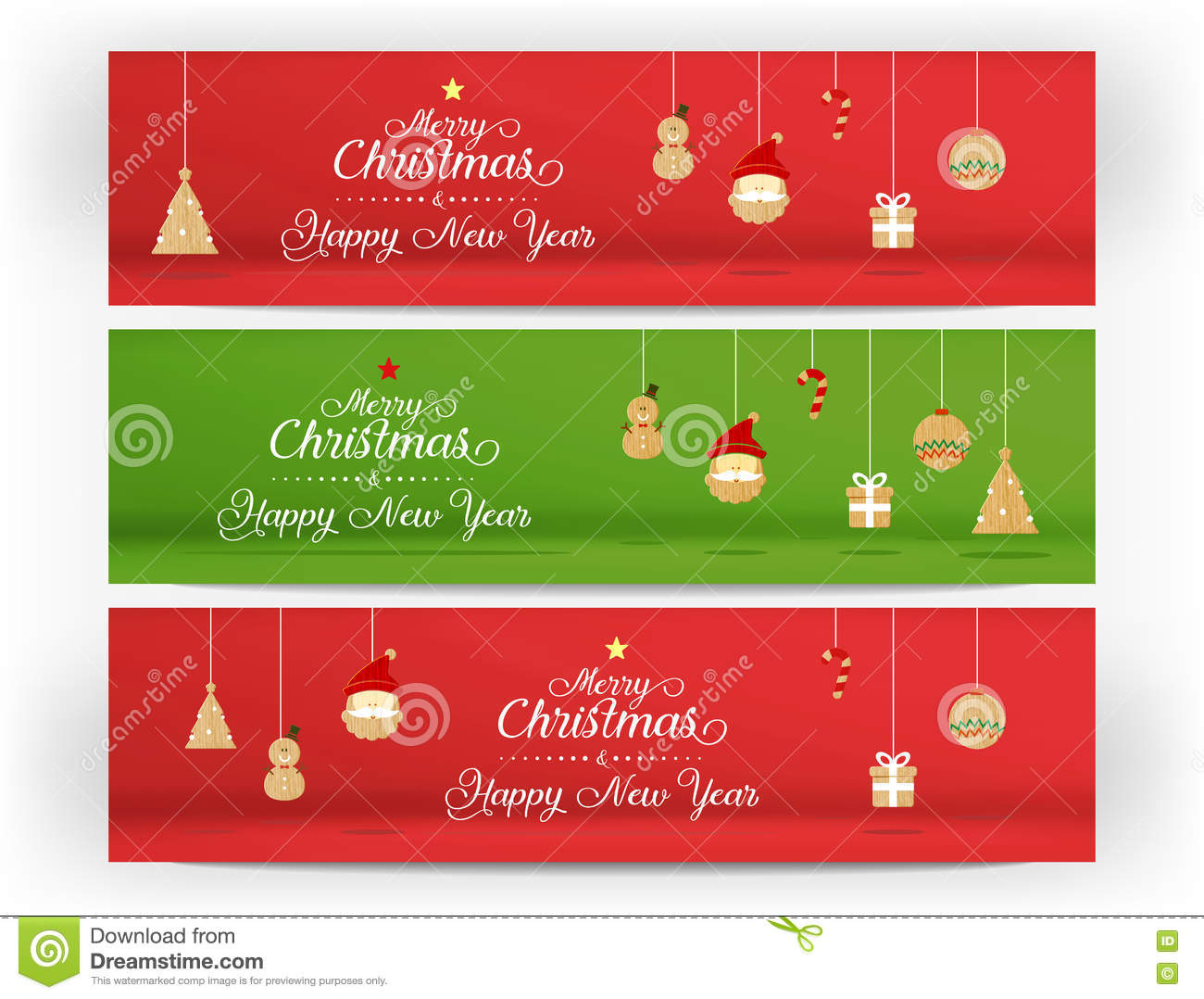 vectorred and green merry christmas and happy new year and icon